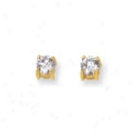 41k Yellow 4mm Round Cz Earrings