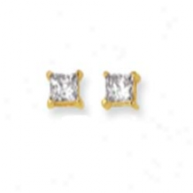 14k Yellow 4mm Square Cz Earrings