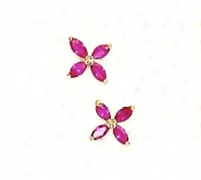 14k Yellow 4x2 Mm Marquise Red Cz Childrens Flower Earrings