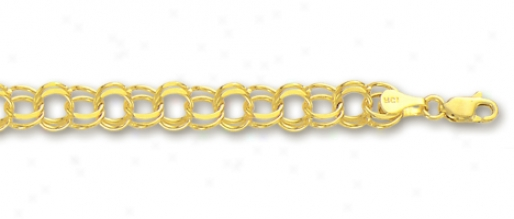 14k Yellow 5 Mm Charm Bracelet - 7 Inch