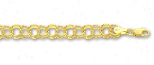 14k Yellow 5 Mm Charm Bracelet - 8 Inch