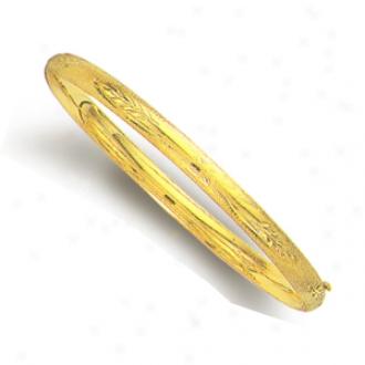 14k Golden 5 Mm Diamond-cut Flower Motif Bangle - 8 Inch