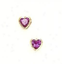 14k Yellow 5 Mm Heart Alexandrite-pink Cz Earrings