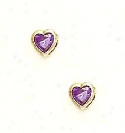 14k Yellow 5 Mm Heart Amethyst-purple Cz Earrings