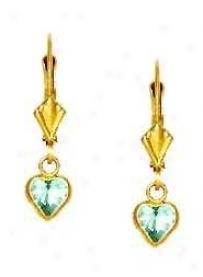14k Yellow 5 Mm Heart Aquamarine-blue Cz Drop Earrings