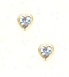 14k Yellow 5 Mm Heart Aquamarine-blue Cz Earrings