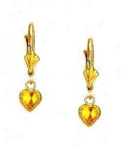 14k Yellow 5 Mm Heart Citrine-yellow Cz Drop Earrings