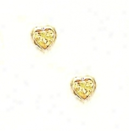 14k Yellow 5 Mm Heart Citrine-yelliw Cz Earrings