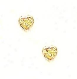14k Yellow 5 Mm Heart Citrine-yelliw Cz Earrings