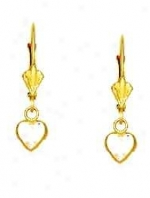 14k Yelow 5 Mm Heart Clear Cz Drop Earrings