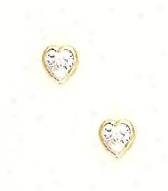 14k Yellow 5 Mm Heart Clear Cz Earrings