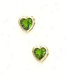 14k Yellow 5 Mm Heart Emerald-green Cz Earrings