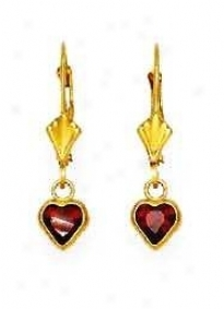 14k Yellow 5 Mm Heart Garnet-red Cz Drop Lever-back Earrings