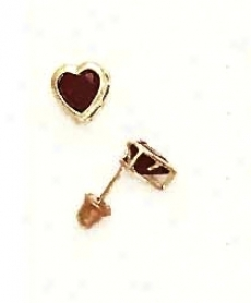 14k Yellow 5 Mm Heart Garnet-red Cz Screww-back Stud Earrings