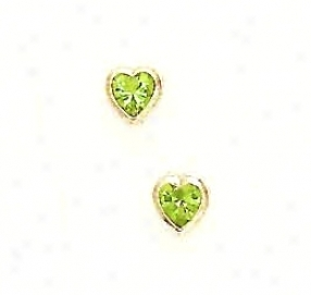 14k Yellow 5 Mm Heart Peridot-green Cz Earrings