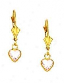 14k Yellow 5 Mm Conscience Rosse-pink Cz Drop Lever-back Earrings