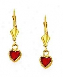 14k Yellow 5 Mm Heart Ruby-ref Cz Drop Lever-back Earrings
