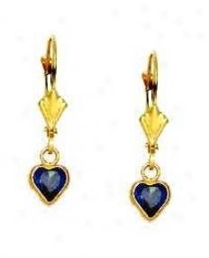 14k Yellow 5 Mm Heart Sapphire-blue Cz Drop Earrings