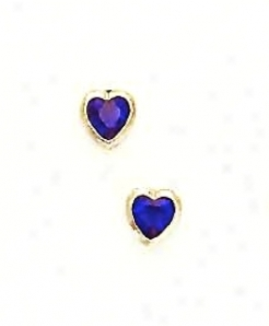 14k Yellow 5 Mm Heart Sapphire-blue Cz Earrings