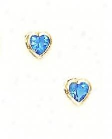 14k Golden 5 Mm Heart Topaz-blue Cz Screw-back Stud Earrings