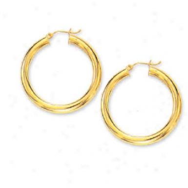 14k Yellow 5 Mm Abundant Tubular Hoop Earrings