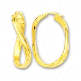14k Yellow 5 Mm Large Twisted Hoop Earrings