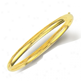 14k Yellow 5 Mm Plain Bold Bangle - 8 Inch