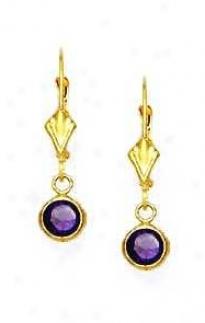 14k Yellow 5 Mm Round Amethyst-purple Cz Drop Earrings
