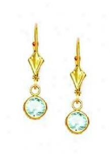 14k Yellow 5 Mm Round Aquamsine-blue Cz Drop Earrings