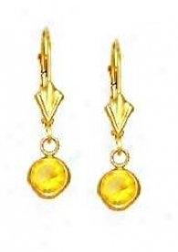 14k Yellow 5 Mm Round Citrine-yellow Cz Drop Earrings
