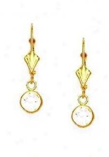 14k Yellow 5 Mm Round Cleaar Cz Drop Earrings