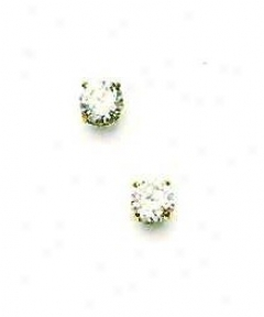 14k Yellow 5 Mm Round Cz Friction-back Pillar Stud Earrings