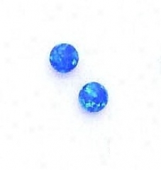 14k Yellow 5 Mm Round Dark Blue Opal Earrings