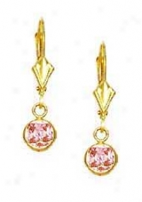 14k Yellow 5 Mm Round Rose-pink Cz Drop Lever-back Earrings