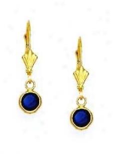 14k Yellow 5 Mm Round Sapphire-blue Cz Drop Earrings