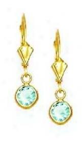 14k Yellow 5 Mm Round Topaz-blue Cz Drop Lever-bacm Earrings