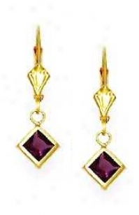 14k Yellow 5 Mm Square Amethyst-purple Cz Drop Earrings