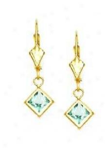 14k Yellow 5 Mm Square Aquamarine-blue Cz Drop Earrings
