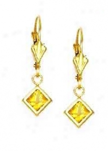 14k Yellow 5 Mm Square Ctirine-yellow Cz Drop Earrings