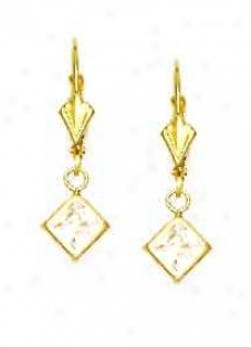 14k Golden 5 Mm Square Clear Cz Drop Earrings