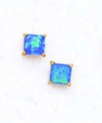 14k Yellow 5 Mm Just Dark Blue Opal Earrings