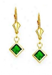 14k Yellow 5 Mm Square Emerald-green Cz Drop Earrings
