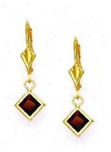 14k Yellow 5 Mm Square Garney-red Cz Drop Earrings