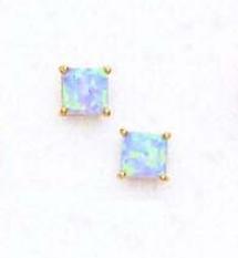 14k Yellow 5 Mm Square Lgiht Blue Opal Earrings