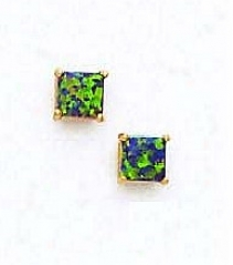 14k Yellow 5 Mm Square Mystic Green Opal Earrings