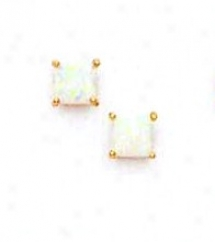 14k Yellow 5 Mm Square Opal Friction-nack Post Stud Earrings