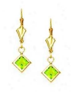 14k Yellow 5 Mm Square Peridot-green Cz Drop Earrings