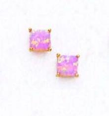 14k Yellow 5 Mm Square Pink Opal Post Stud Earrings