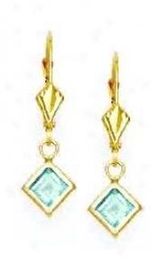 14k Yellow 5 Mm Perpendicular Topaz-blue Cz Drop Earrings