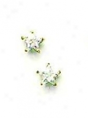 14k Yellow 5 MmS tart Cz Frictikn-back Post Stud Earrings